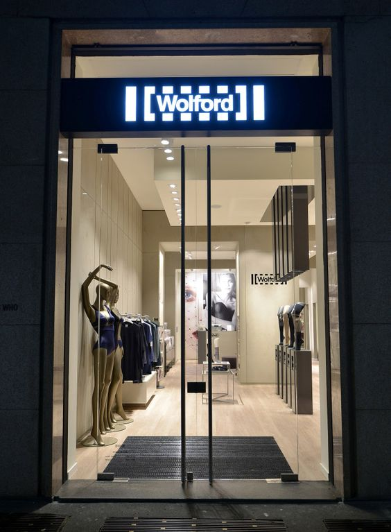 Seen from the outside through glass doors is the Wolford flagship store in Milan.