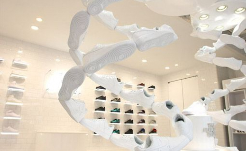 Spiral all white Nike Air Force One display for their store in Tokyo.