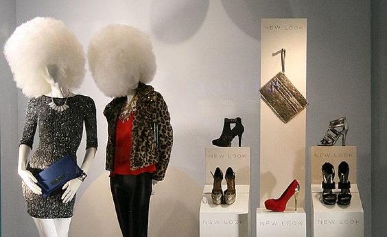 Windows by New Look for the winter of 2013, all plain white display and decorative spheres, London.