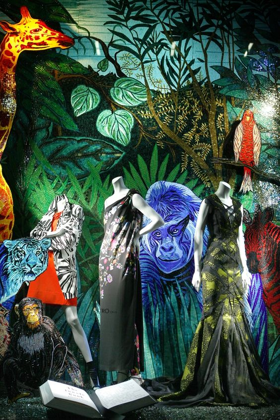 Nature inspired visual merchandising display and windows wear by Bergdorf Goodman, in New York.