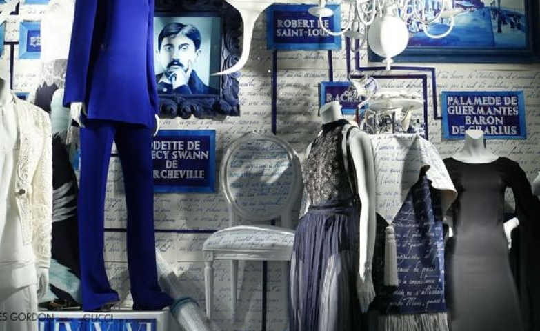All navy themed windows wear, with plenty of navy decor from Bergdorf Goodman, in New York.
