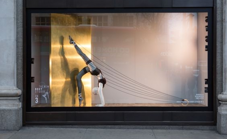 Selfridges celebrate their largest department and the launch of the body studio with this display, seen in London.