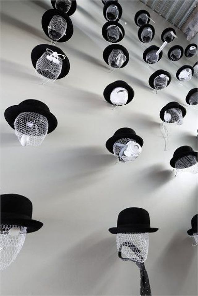 Takeo Kikuchi visual merchandising set for hats and accessories display for their store in Shibuya by Schemata Architects.