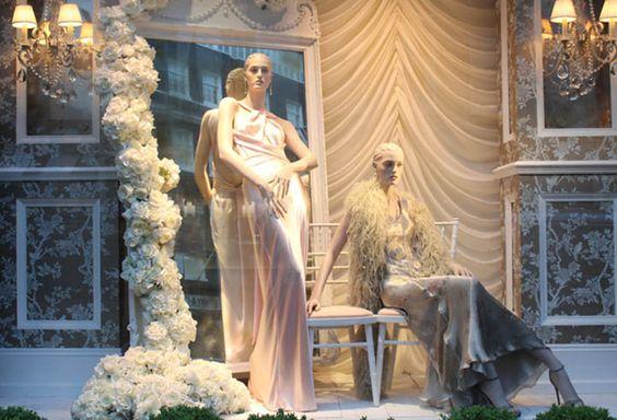 "Visual merchandising display themed ""White Summer"", windows by Ralph Lauren in London."