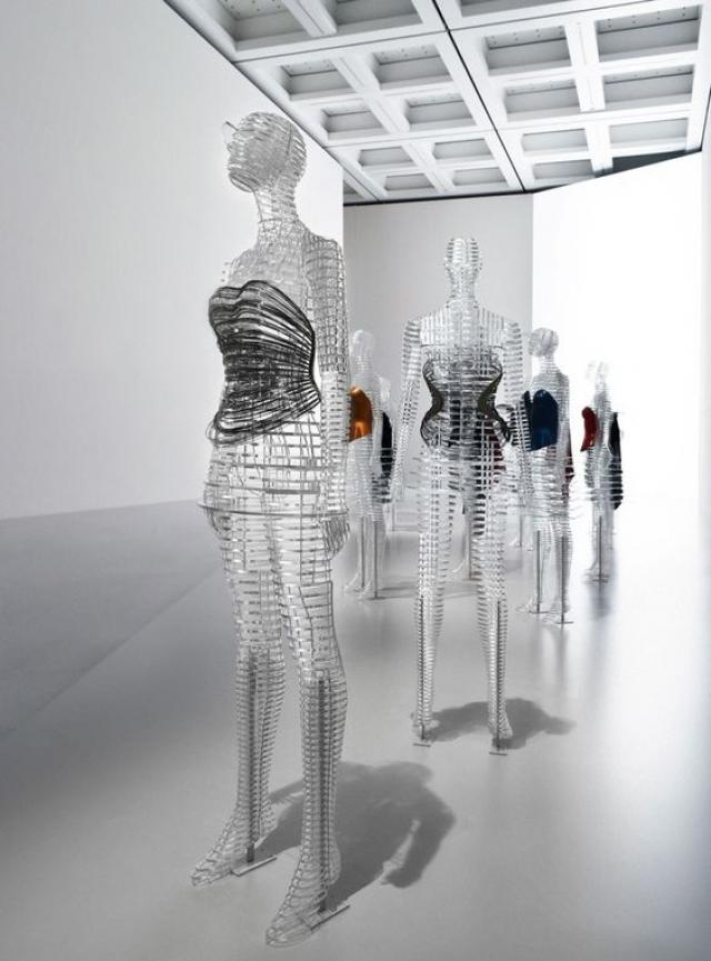 Exhibition display of the work of Miyake Issey, held by Tokujin Yoshioka in Tokyo, Japan.