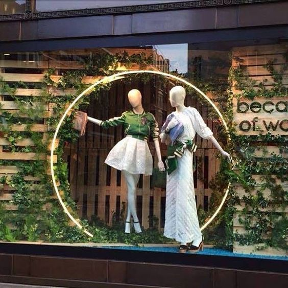 """Selfridges theme """"Because of wood"""" in London, with clothing by Maje and fabric mannequins by Hans Boodt."""