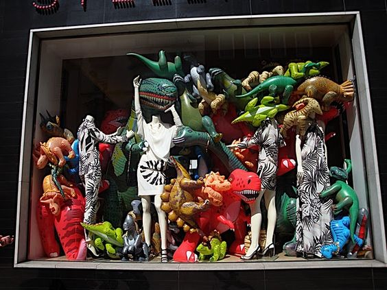 Stella McCartney used inflatable dinosaurs to create this visual merchandising display in London.