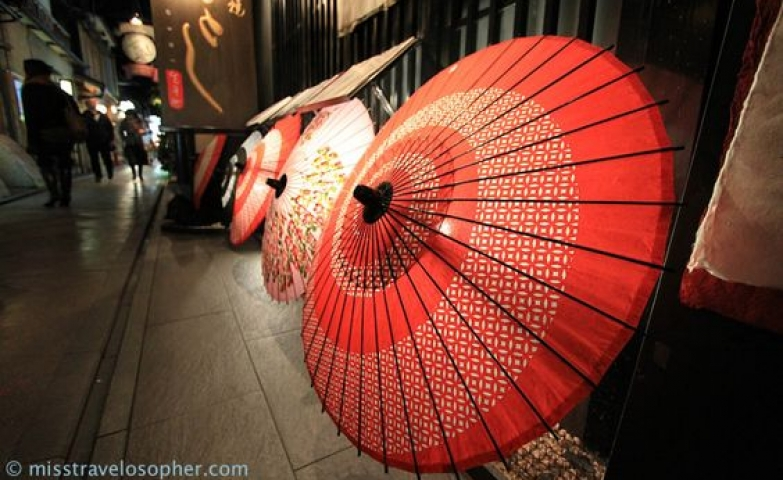 Beautiful lighted traditional Japanese umbrellas decorating the facade of a shop.