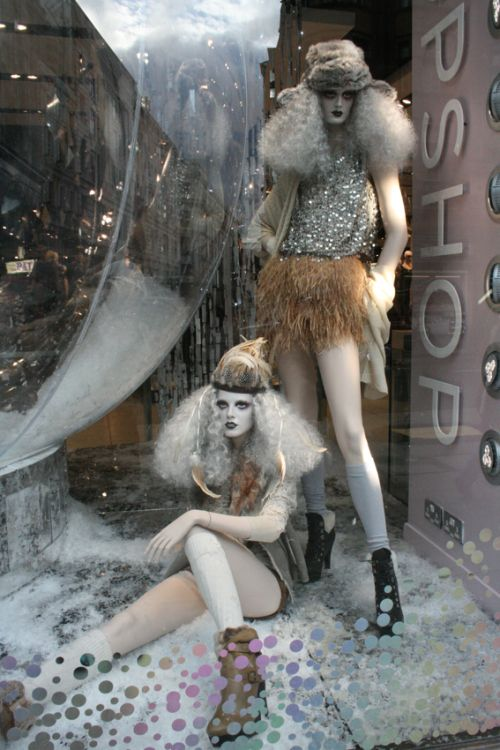 Another great display for a white Christmas visual merchandising inspiration seen in London.