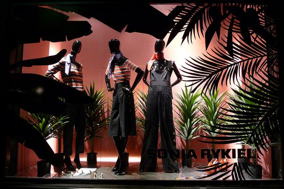 Tropical safari theme, with many exotic leaves for a vitrine design for Sonia Rykiel, Paris.
