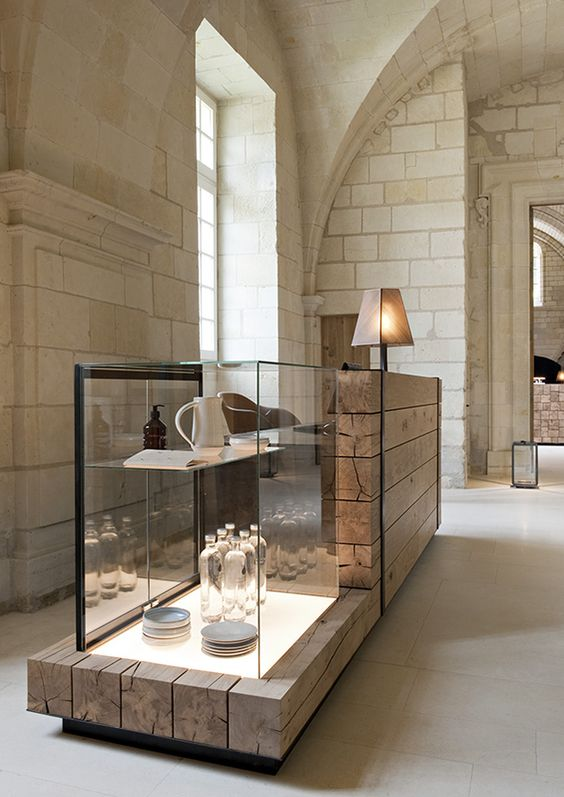 Interior decoration of the Abbaye de Fontevraud created by the Agence Jouin Manku.