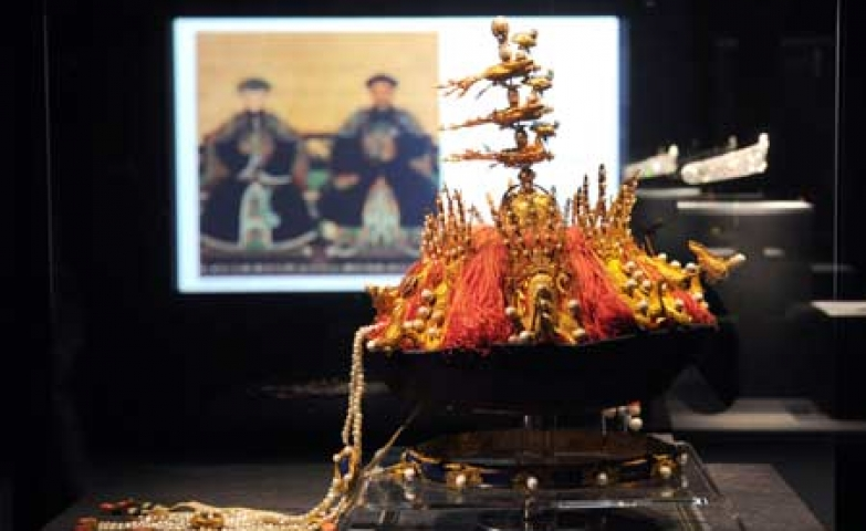 A summer court hat for imperial concubines in the Qing Dynasty displayed at The National Palace Museum in Taipei, Taiwan.