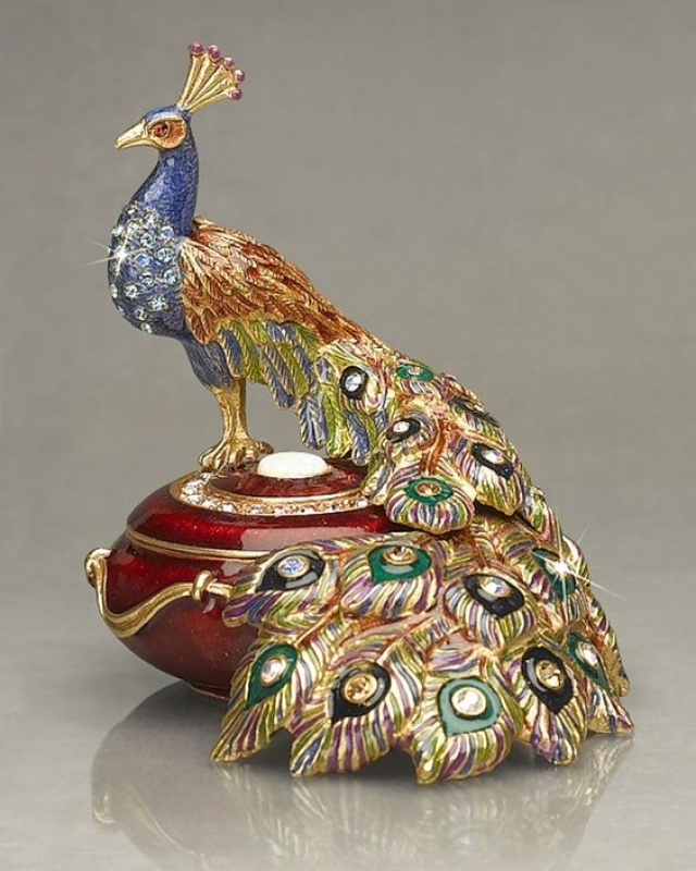 Antique and fashion jewelry box with bright peacock on top from Rosamaria G. Frangini.