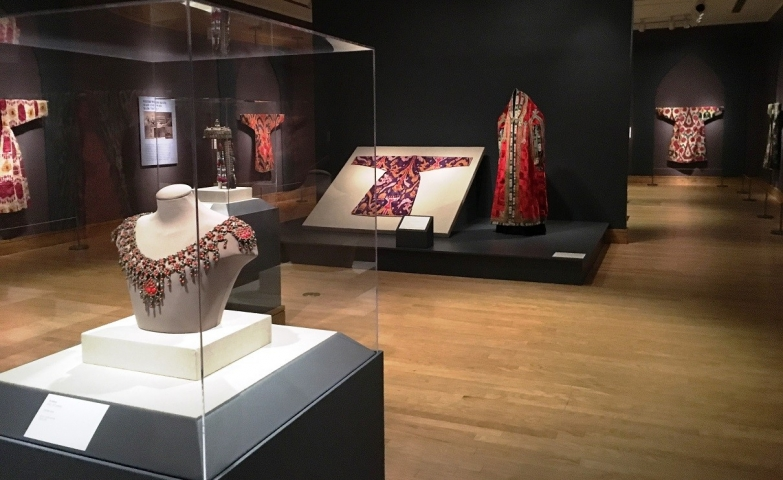 The stunning exhibition All the Colors of the Rainbow: Uzbekistan Ikats from the Collection of Peggy Slappey.
