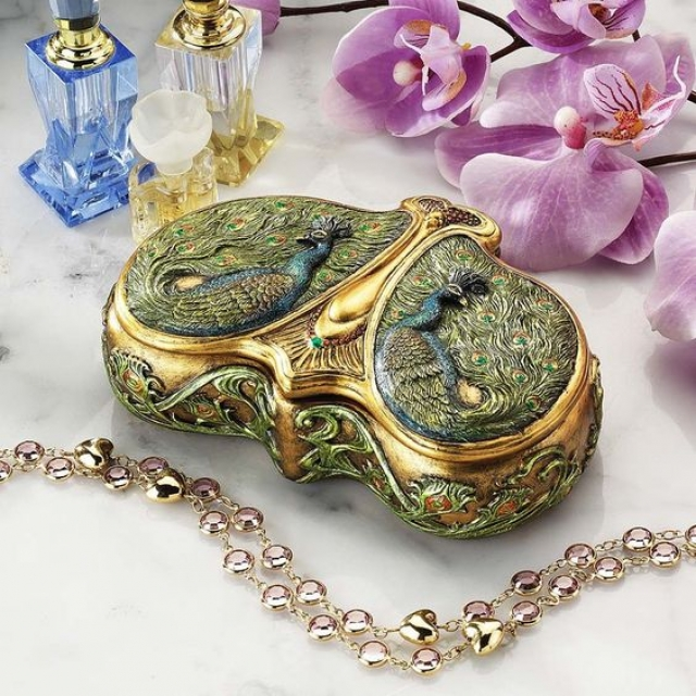 Delicate art nouveau style peacock shaped jewel box for the most exquisite tastes