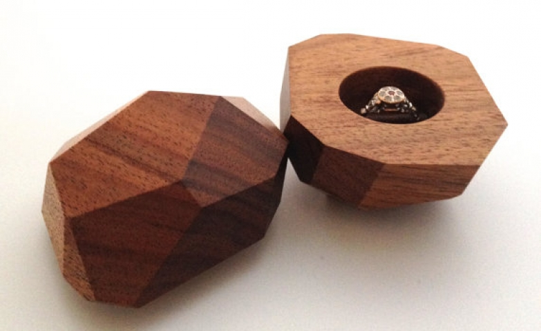 Wood ring box made from Australian black wood, perfect for a special occasion.