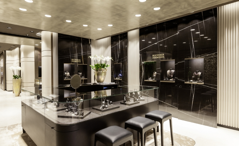 Bucherer retail jewelry stores give a luxurious and elegant feeling with this setting.