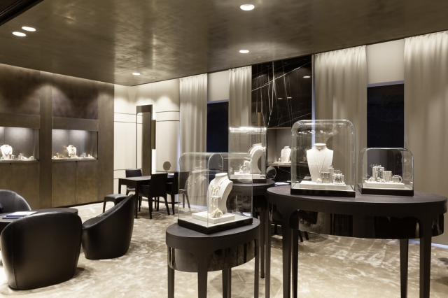 Very modern and elegant design and decoration seen in the Bucherer retail jewelry stores.