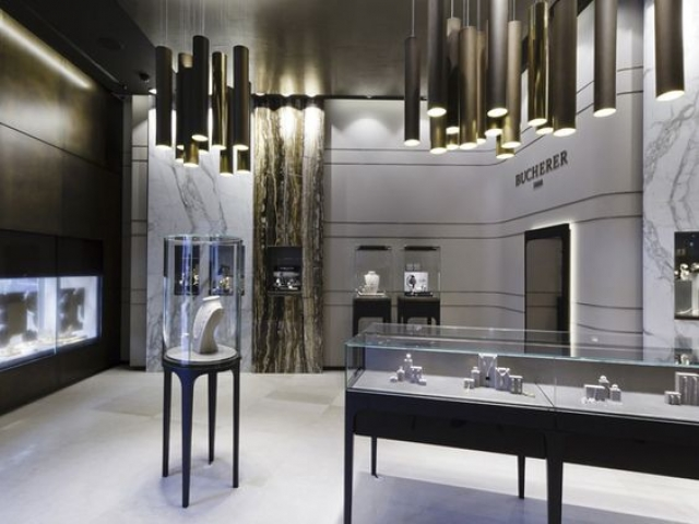 The stunning interior of the Bucherer store by Blocher Blocher Partners, St.Moritz Switzerland.