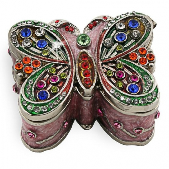 Very elegant and feminine butterfly metal trinket box, handmade decorated with precious colored gems.