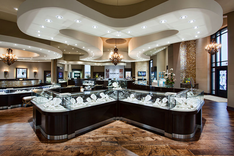 Crockers interior decoration and jewelry glass displays with beautiful ceiling art.