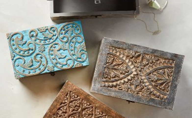 Very beautiful and interesting carved wood jewelry boxes for miscellaneous pieces.