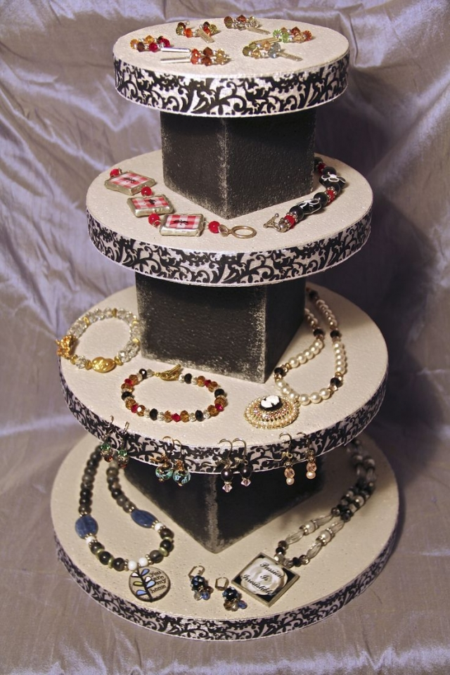 Another fun vintage idea comes from this display filled with various jewelry.