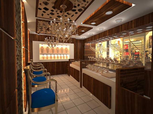 Luxurious displays at the Doruk Kuyumculuk, a jewelry store in Istanbul, Turkey.