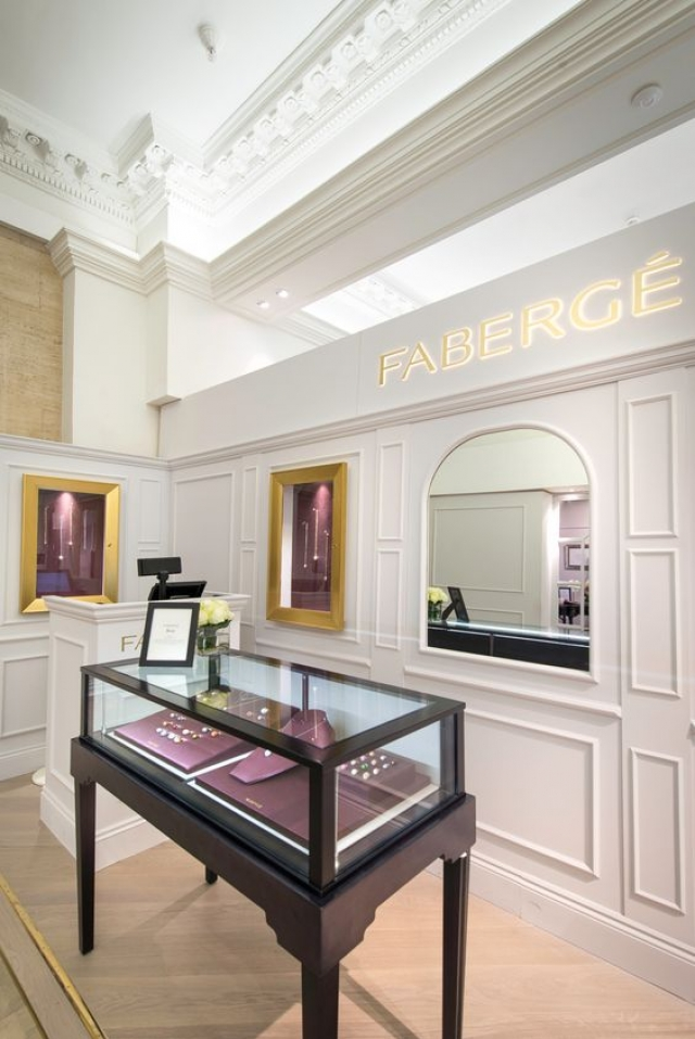 Simple white decor design for the Fabergé Pop-up Egg Bar at Harrods.