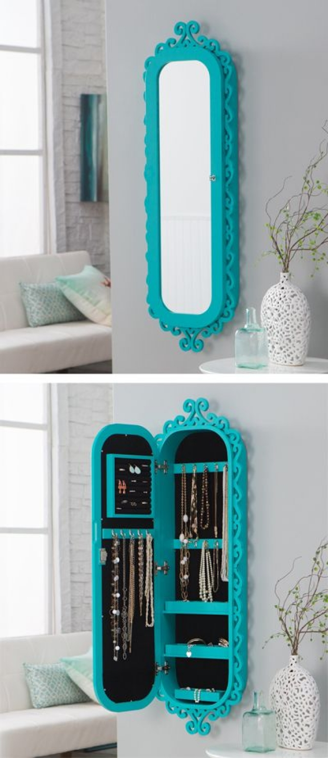 Full vivid turquoise wall scroll locking jewelry armoire with mirror, great for keeping jewelry discretely.