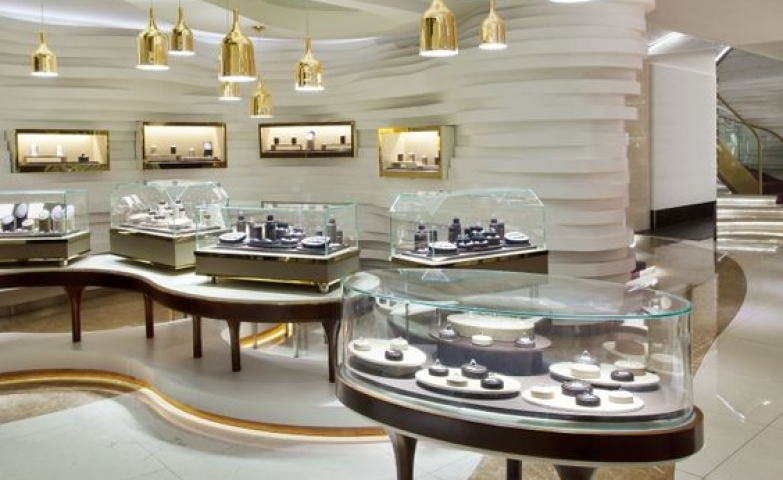 Joey Ho Design created this stunning futuristic look for the interior of Germania Jewellery Store.