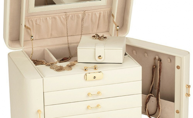 Modern design for pretty girls, a wonderful white color wood jewelry organizer.