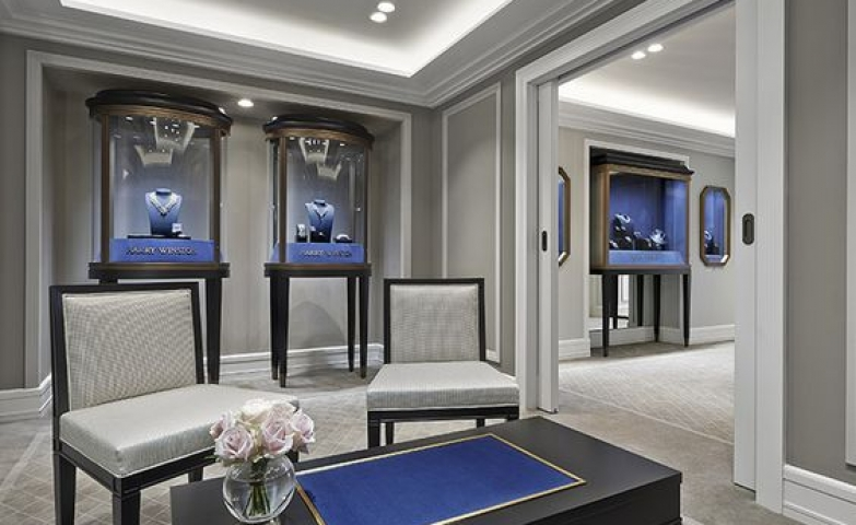 Harry Winston Jewelry Store opens a boutique with cutting edge blue and grey setting in Cannes.