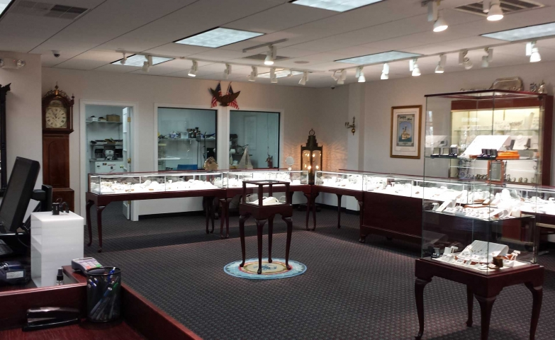 More inspiration from this open concept showroom of a Hyannis Jewelry Store.