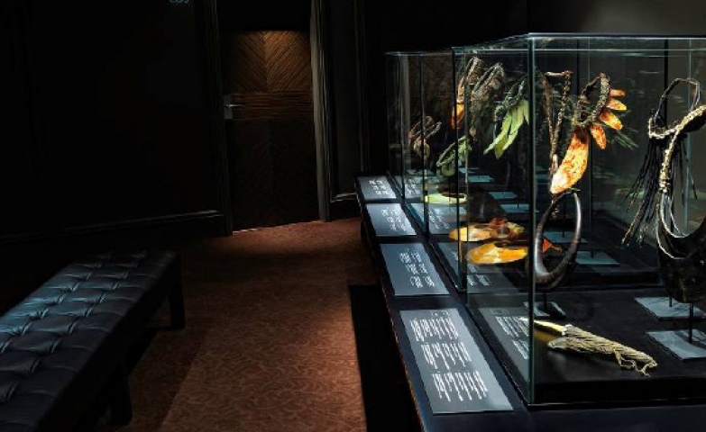 This stunning image was shows a general view of the display cabinet which was dedicated to jewels from Papua and New Guinea.