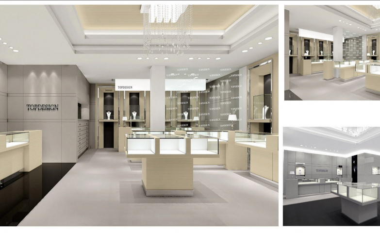 Get inspired by this clean and elegant jewellery store design full of bright elements.