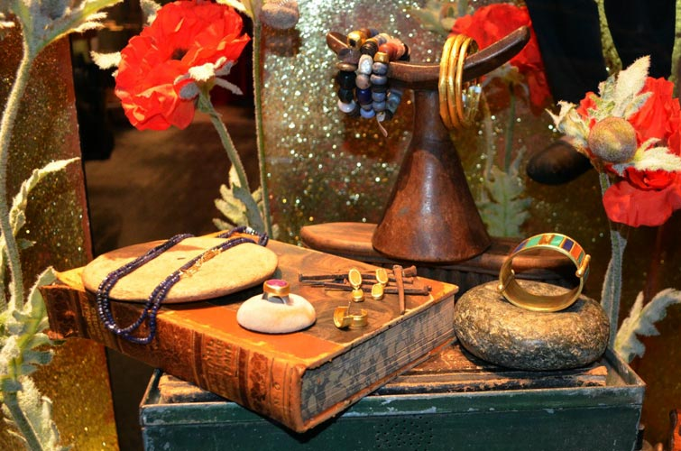 More vintage jewelry display ideas with autumn and vibrant colors perfect for visual merchandising.