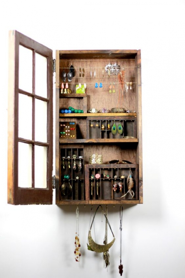 Rustic looking jewelry cabinet for jewelry display and jewelry storage, handmade by Tangle and Fold.
