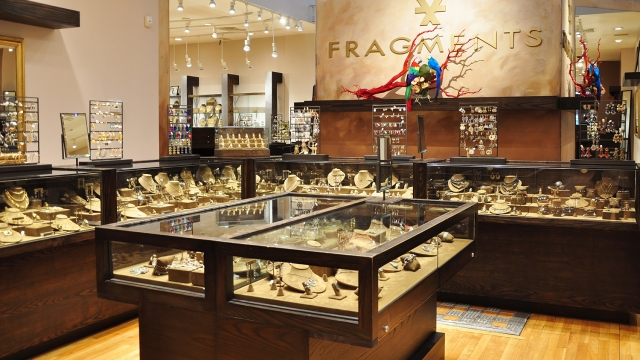 Inspiration from New York's jewelry stores, merchandise displays inside Fragments.