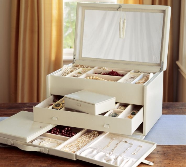 Jewelry boxes are the most common way to store jewelry at home.