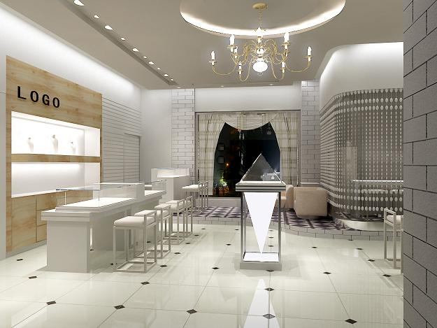 Another project idea for a jewelry kiosk design. Modern futuristic look.