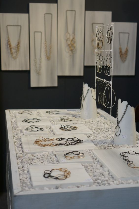 Megan Auman buyer's market booth for a simple elegant display with stones and hangers.