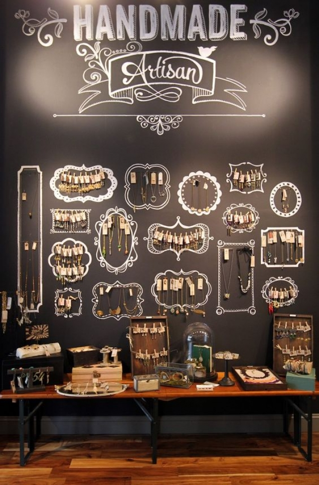 Using the wall to add different frames to it and hang necklaces inside each painted frame is a very original merchandise jewellery display.