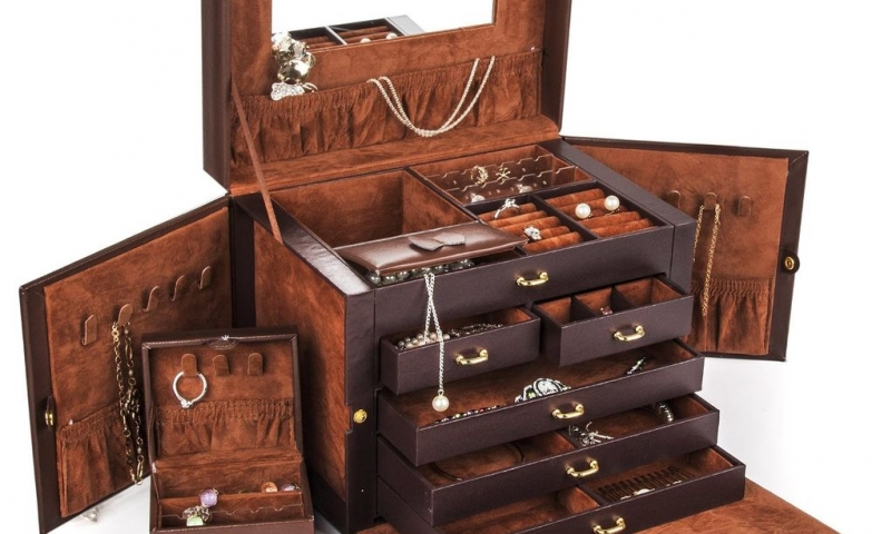 A Large Jewelry Box Case Storage Made With Brown Leather Which Can Be  Locked With A
