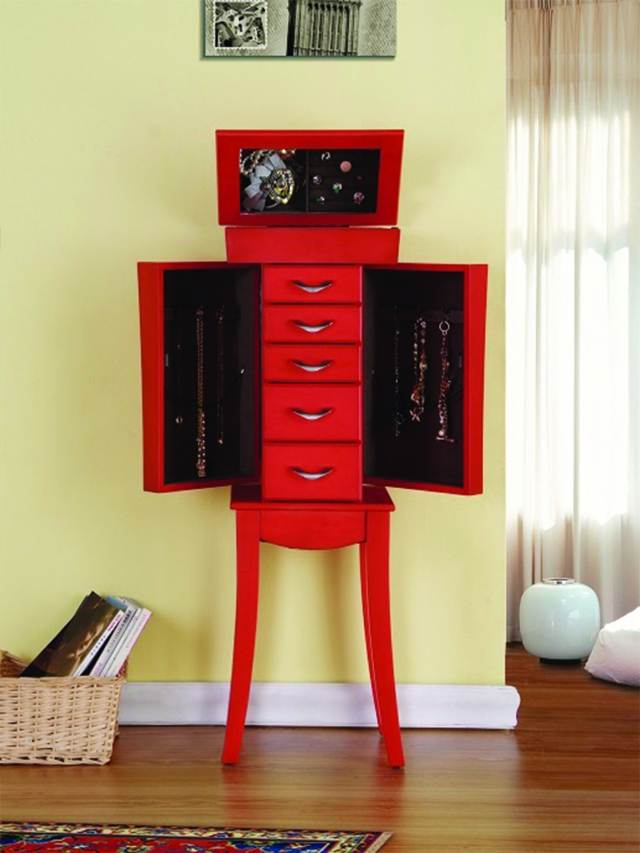 Vibrant red color Libra jewelry armoire is a perfect furniture and storage piece.
