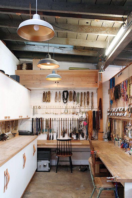 Take a peek inside Marisa Mason's darling jewelry work studio. Looks really cozy to work in.