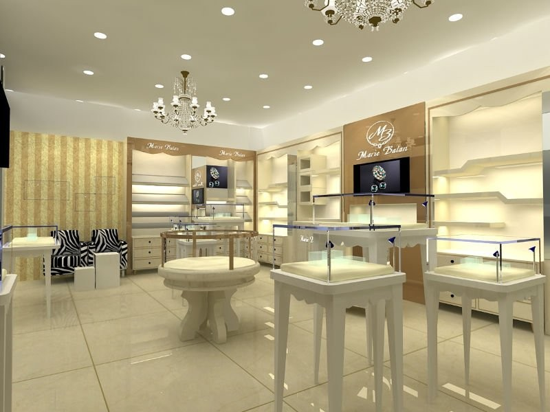 A concept for a modern jewelry store interior design and display ideas.