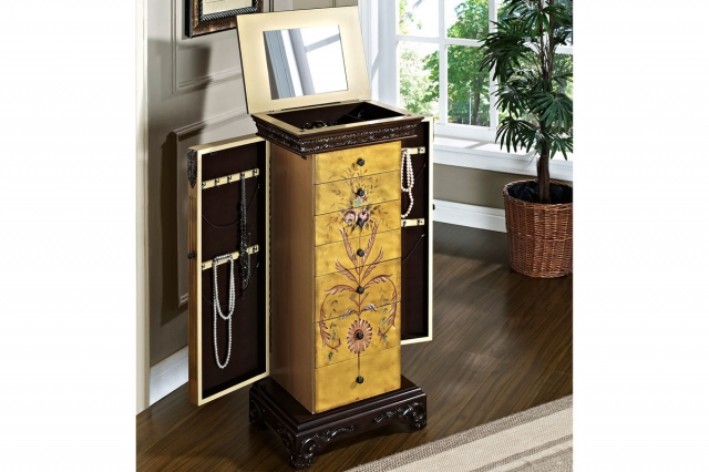 The Masterpiece Antique Parchment Hand Painted Jewelry Armoire from Powell can keep your accessories organized.