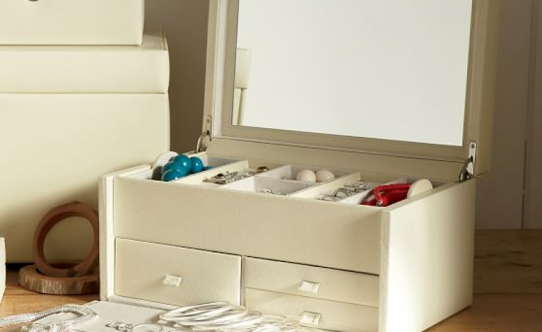 The McKenna Jewelry Box Is Dressed In Leather And Comes With Drawers,  Storage Boxes And