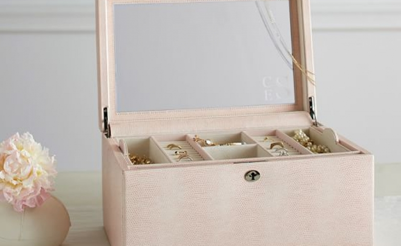 Pink Leather, Large Jewelry Box With Layered Storage Boxes From McKenna.